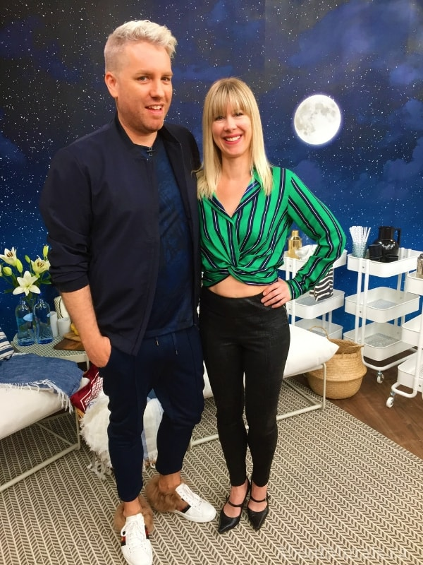 Moon and Stars Wallpaper is the backdrop to Christian Dare and Adrienne Scanlan, onset at Cityline