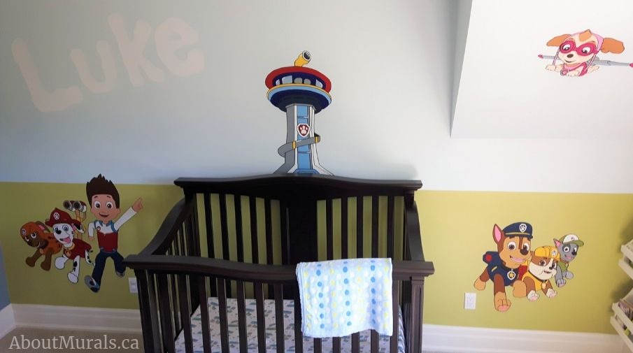 Adrienne of AboutMurals.ca painted this paw patrol mural in Carlisle, Ontario