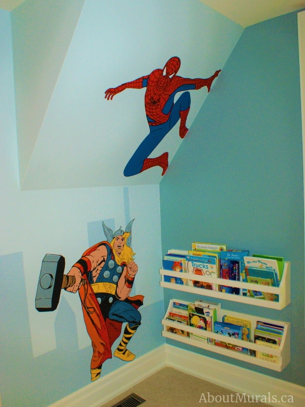 This superhero mural features Spiderman and Thor, hand-painted by Adrienne of AboutMurals.ca