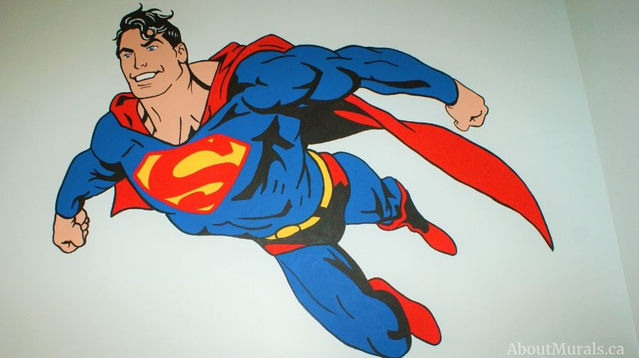 Superman is painted in this kids mural by Adrienne of AboutMurals.ca
