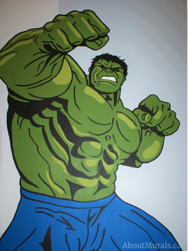 Adrienne of AboutMurals.ca painted The Hulk in a mural
