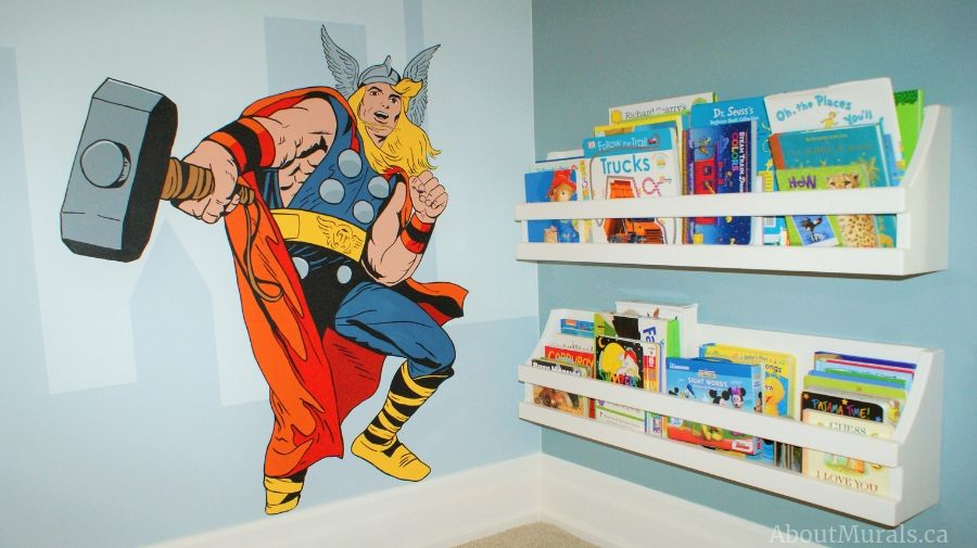 Thor is painted in this superhero mural by Adrienne of AboutMurals.ca