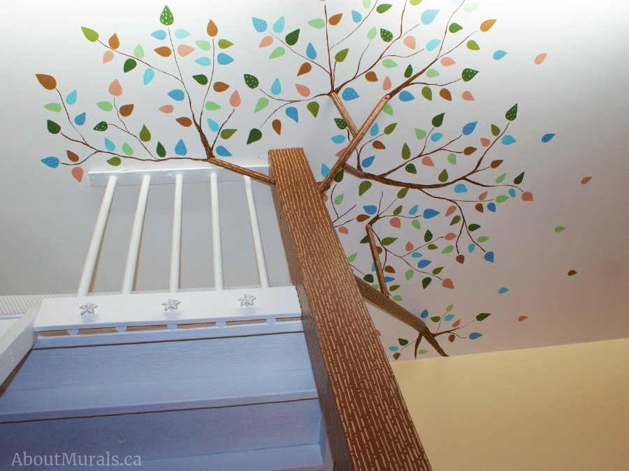 A treehouse mural painted by Adrienne of AboutMurals.ca