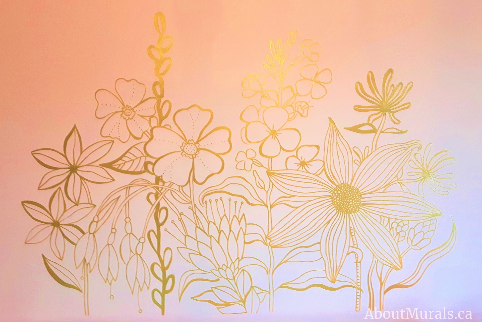 Gold wildflowers painted on a pink wall by Adrienne of AboutMurals.ca