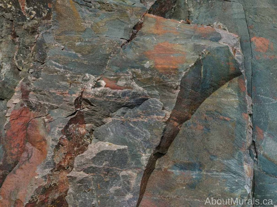 A grey and rust coloured Canadian Shield Rock Face wallpaper sold by AboutMurals.ca