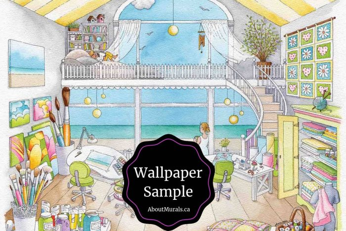 Mia's Workshop Wallpaper Sample features an arts and crafts room overlooking a beach, sold by AboutMurals.ca