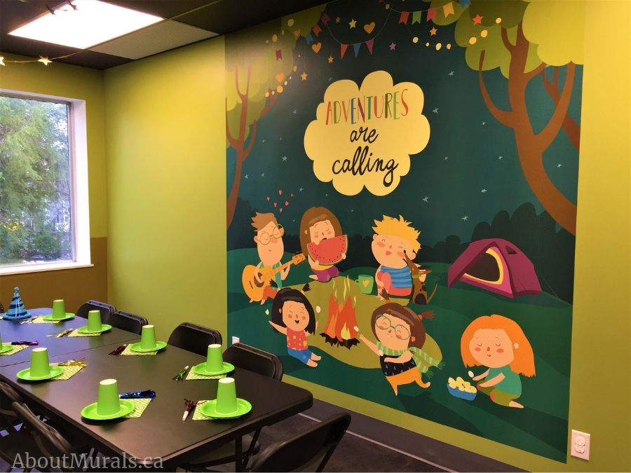 Birthday party murals, including this camping themed one, are featured from the Pearl Hummingbird in Hamilton, ON.