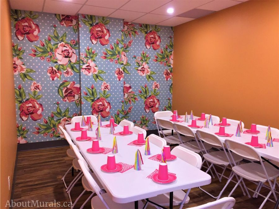 Birthday party murals, including this Enchanted Garden design, are featured from The Pearl Hummingbird in Hamilton.