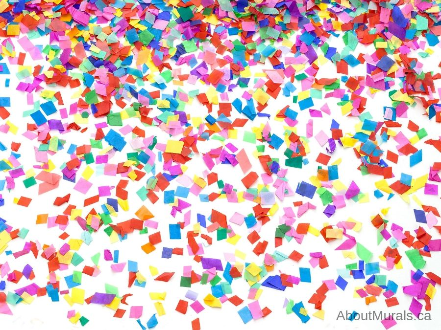 A party room wallpaper with colourful, falling confetti sold by AboutMurals.ca