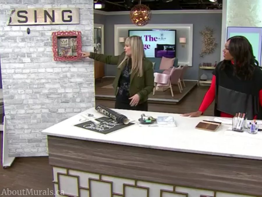 Wendy Russell and Tracy Moore talk about budget friendly art over a removable brick wallpaper from AboutMurals.ca