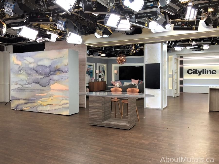 A watercolor wallpaper, sold by AboutMurals.ca, is featured on Cityline TV
