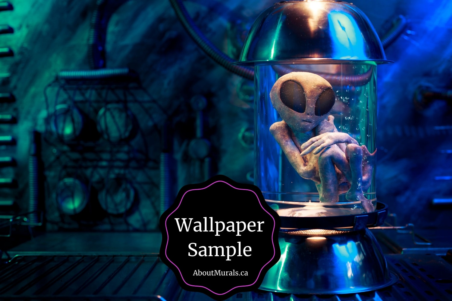 An alien wallpaper sample featuring an extra-terrestrial floating in a laboratory jar.