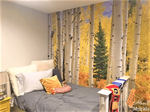 An Aspen tree wallpaper as seen in this Aspen tree bedroom, sold by AboutMurals.ca