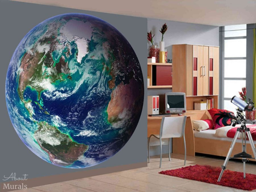 An earth mural seen in a bedroom features a view of the planet from space. Space mural from AboutMurals.ca