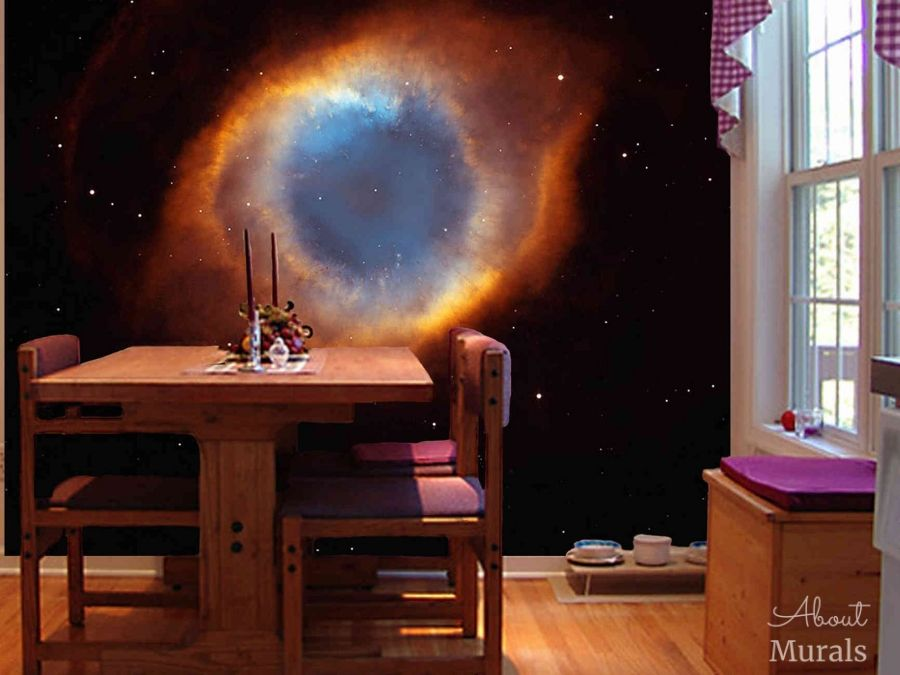 A nebula mural featuring NGC7293 in a dining room. Space mural from AboutMurals.ca