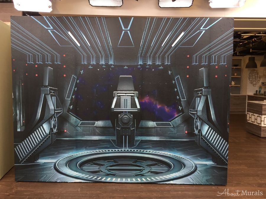A spaceship interior from a space wall mural on set at Cityline. Spaceship mural from AboutMurals.ca