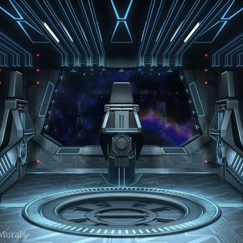 A spaceship wall mural featuring the black cockpit in the interior of the ship