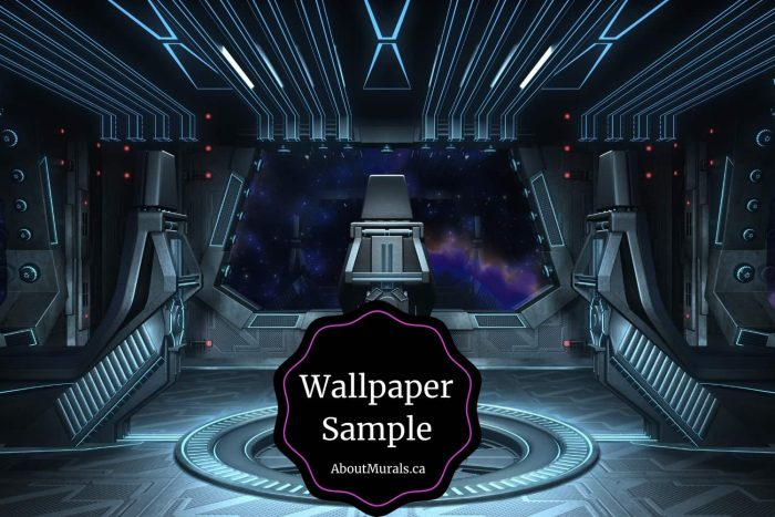 A spaceship wallpaper sample featuring the interior of a spacecraft from AboutMurals.ca
