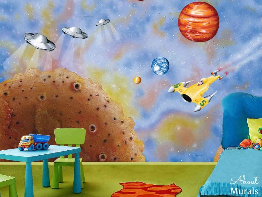 A UFO mural featuring spaceships and flying saucers in a kids bedroom. Space mural from AboutMurals.ca