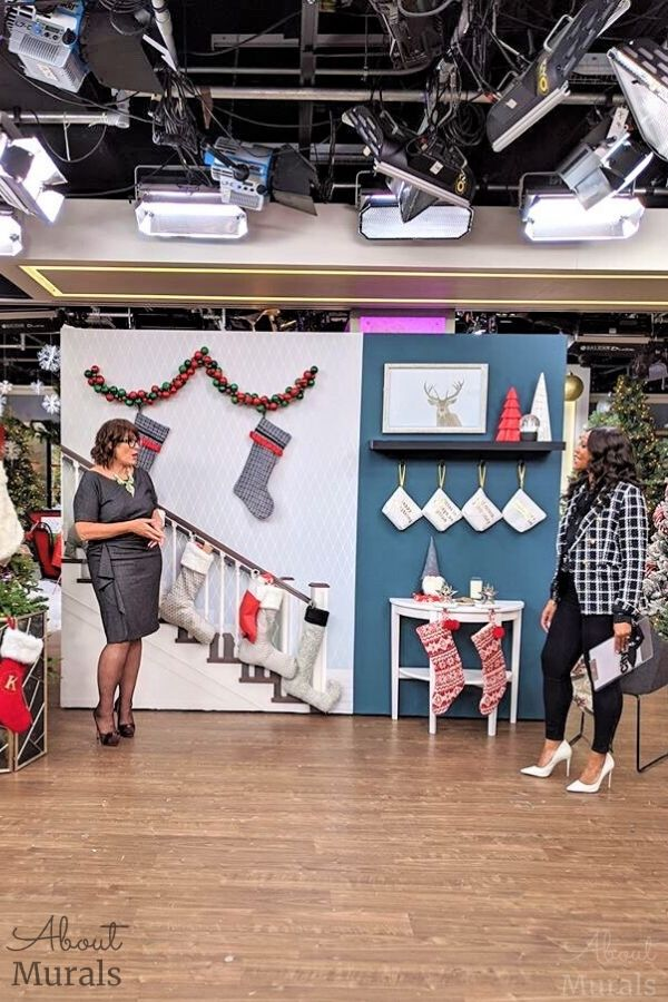 Tracy Moore and Kimberley Seldon on set at Cityline showcasing custom wall murals from AboutMurals.ca