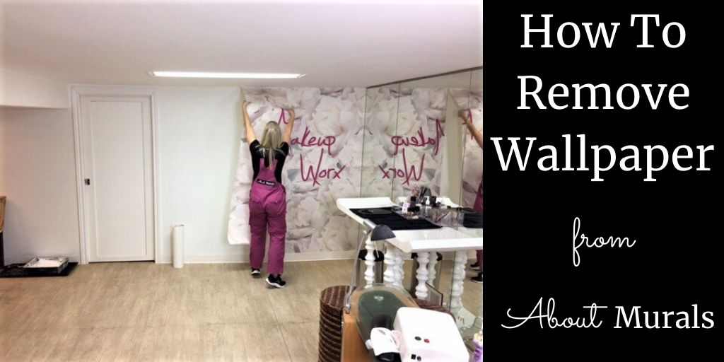 Adrienne of AboutMurals.ca removes wallpaper from Makeup Worx boutique