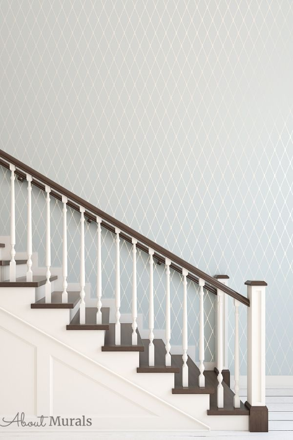 A rendering of a wooden staircase in a hallway