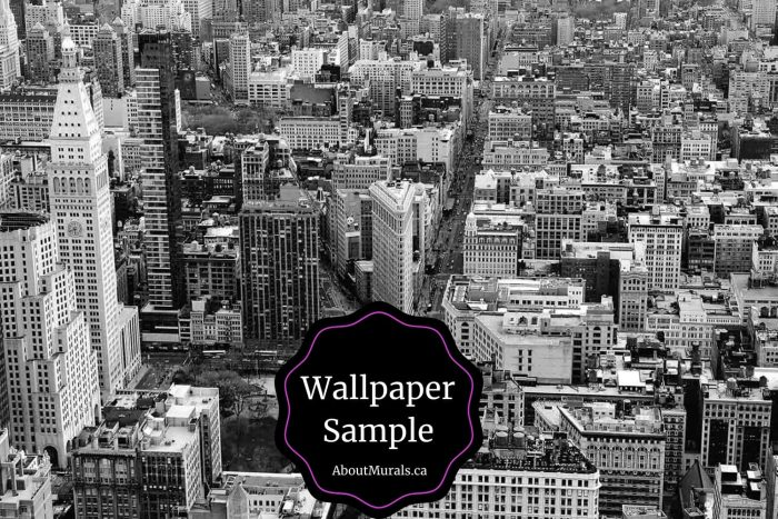 """A removable wallpaper featuring a black and white photo of Manhattan in New York City, with the words """"Wallpaper Samples Available from AboutMurals.ca"""""""