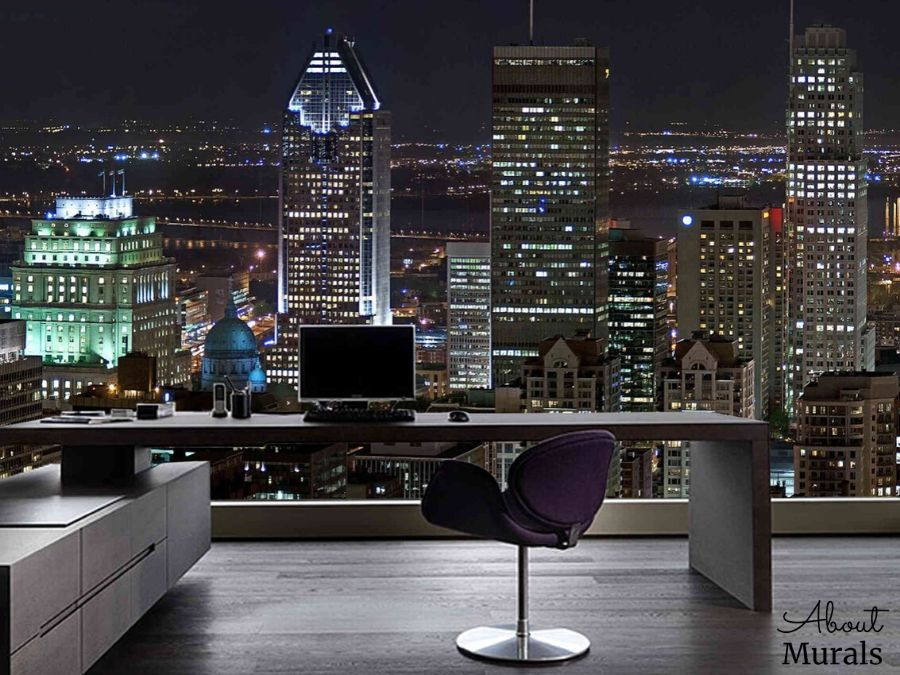 A removable wallpaper featuring skyscrapers in downtown Montreal at night, from AboutMurals.ca