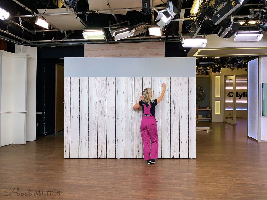 Farmhouse Style Wallpaper being hung on set at Cityline by Adrienne of AboutMurals.ca