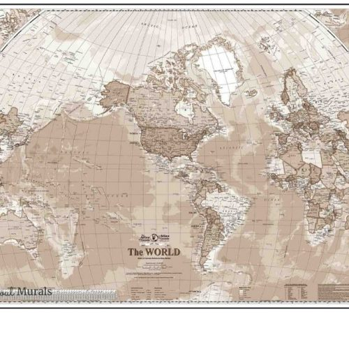 Sepia World Map Wallpaper from AboutMurals.ca