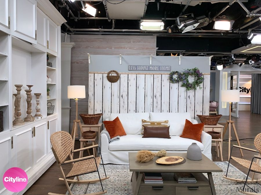 White Wood Wallpaper on Cityline Set from AboutMurals.ca