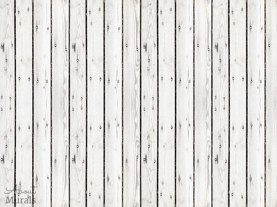 A white wood wallpaper from AboutMurals.ca